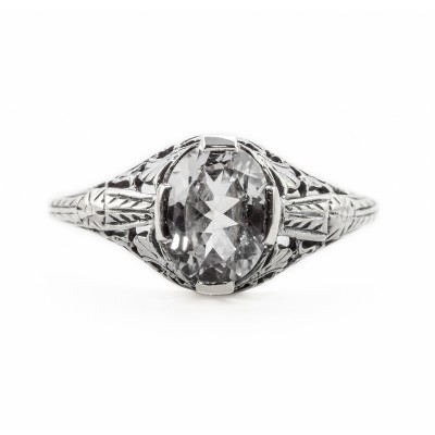 ov031bbr | Antique Filigree Ring | for a 1.15ct. to 1.25ct. oval stone | Three Loops