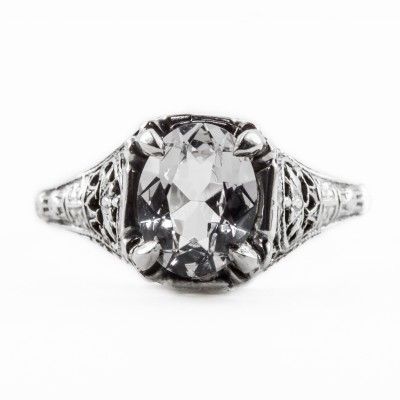 ov043bbr | Antique Filigree Ring | for a 1.8ct. to 1.9ct. oval stone | Baroque-esque