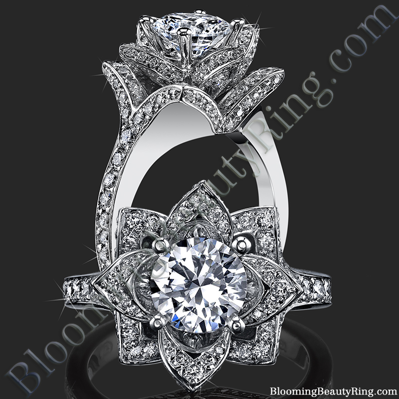 The Large Crimson Rose Flower Diamond Engagement Ring bbr607