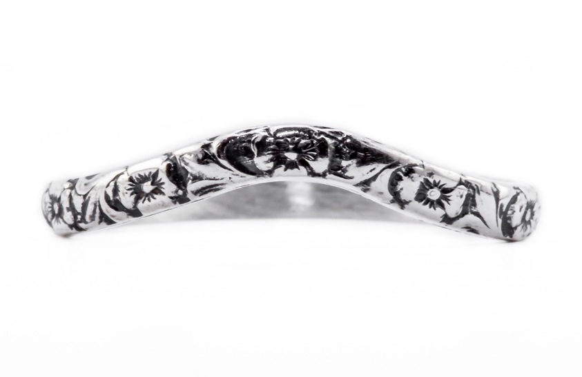 wb042bbr | Antique Filigree Wedding Band | Curved and Engraved | Flower Companion Band