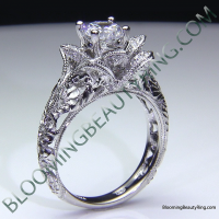 Diamond Embossed Blooming Rose Engagement Ring with Etched Carvings 2