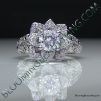 Diamond Embossed Blooming Rose Engagement Ring with Etched Carvings 8