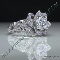 Diamond Embossed Blooming Rose Engagement Ring with Etched Carvings 7
