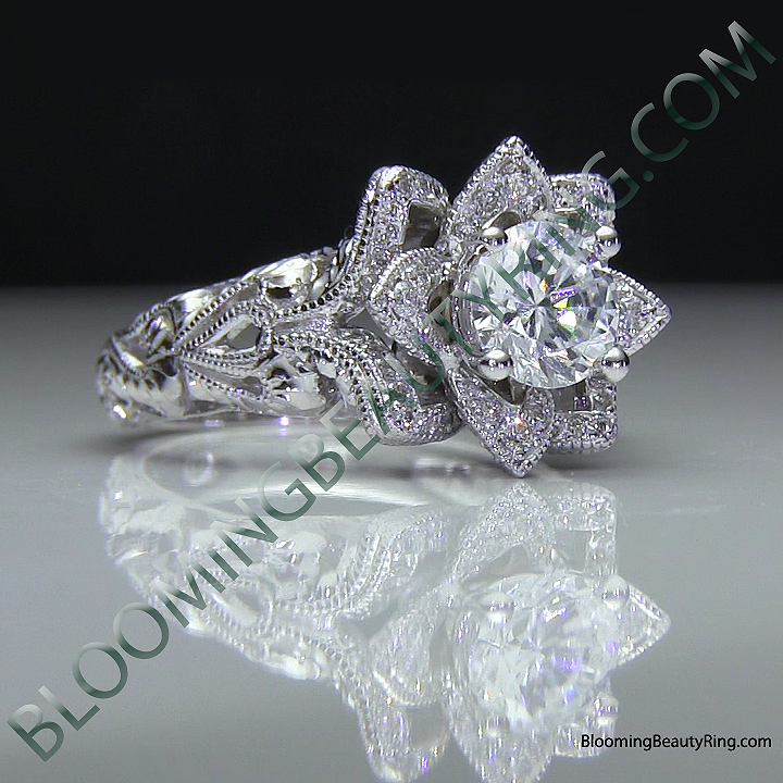 diamond embossed blooming rose engagement ring with etched carvings 7 - Rose Wedding Rings