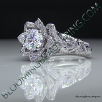 Diamond Embossed Blooming Rose Engagement Ring with Etched Carvings 6