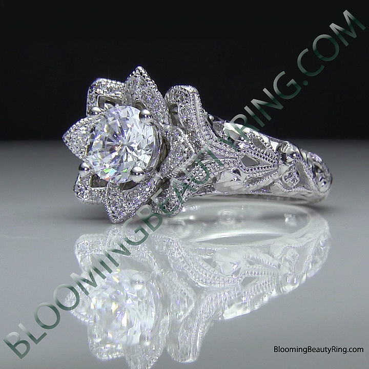 diamond embossed blooming rose engagement ring with etched carvings 6 - Rose Wedding Rings