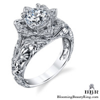 Diamond Embossed Blooming Rose Engagement Ring with Etched Carvings 10