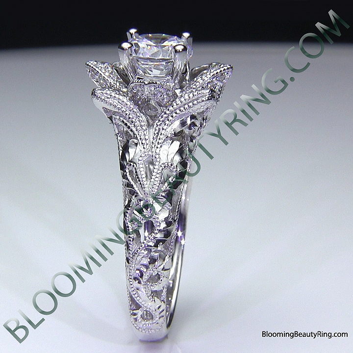diamond embossed blooming rose engagement ring with etched carvings 5 - Rose Wedding Ring