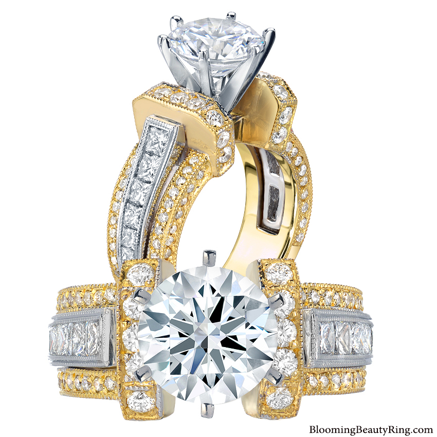 Unique Engagement Rings For Women: 1.95 Ctw. Two Toned Princess And Round Duchess Engagement