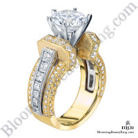 Two Toned Princess and Round Duchess Engagement Ring bbr332