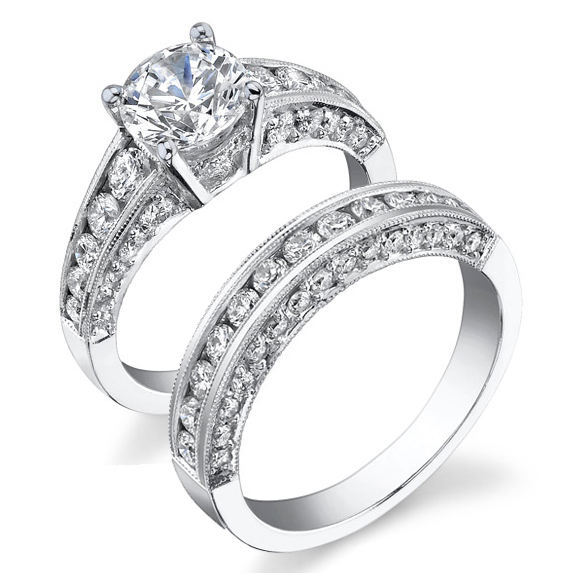 Vintage Inspired Half Circle Tapered Diamond Engagement Ring Set