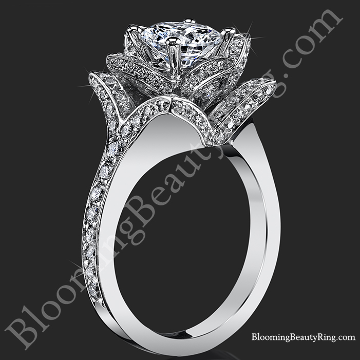 the crimson rose 158 ctw rose cut flower diamond engagement ring standing up - Rose Wedding Rings
