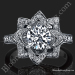 The Crimson Rose 1.58 ctw. Rose Cut Flower Diamond Engagement Ring Laying Down