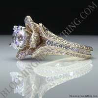Yellow Gold Engraved Large Blooming Beauty Ring Laying Down