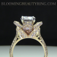 Hand Engraved 14K Gold Flower Ring