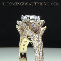 Engagement Ring Sale. Yellow Gold Hand Engraved Flower Ring.