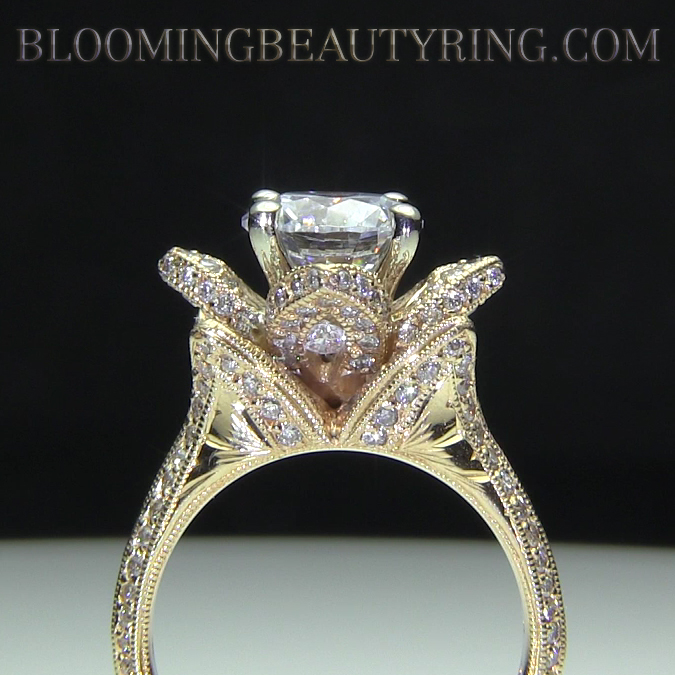 Yellow gold large hand engraved blooming beauty flower diamond hand engraved 14k gold flower ring mightylinksfo