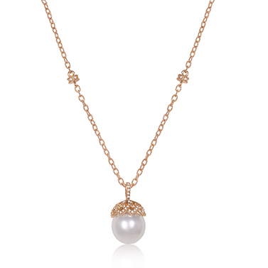20K Rose Gold South Sea Pearl Necklace with Diamonds by Jacqueline