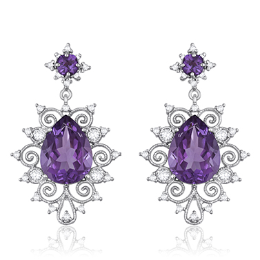 Amethyst and Diamond Earrings by Jacqueline Dani