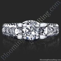 Rope Style Engagement Ring Diamond U-shaped Prongs