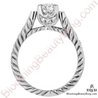 Rope Style Shank Engagement Ring with Diamond Accented U Prongs