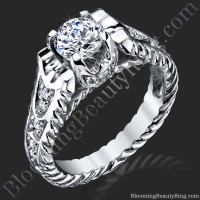 Unique Rope Shank Engagement Ring with Diamond Accents
