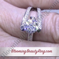 3 Sided Tension Set Split Shank Pave Diamond Engagement Ring On the Finger 1