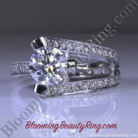 3 Sided Tension Set Split Shank Pave Diamond Engagement Ring Sideview 1