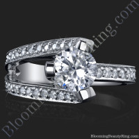 3 Sided Tension Set Split Shank Pave Diamond Ring