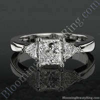 3 stone Beveled Ridge Trillion Cut Tapered Top Diamond Engagement Ring