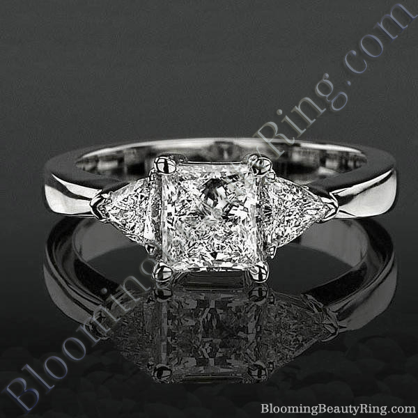 3 stone Beveled Ridge Trillion Cut Tapered Top Diamond Engagement Ring - bbr3056