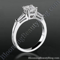 4 Prong 3 Stone Princess Diamond Setting with 2 Baguette Side Diamonds