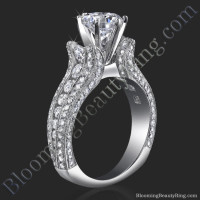 5 Sided 10 Column Diamond Engagement Ring
