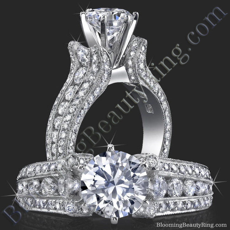 5 Sided 10 Column Diamond Engagement Ring - bbr455