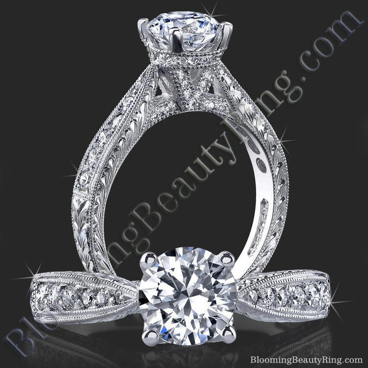 Antique Vintage Setting Style With Unique Hand Carving And V Shape Shank - bbr359