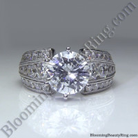 Artisan Etched Trinity Diamond Shank Engagement Ring 1