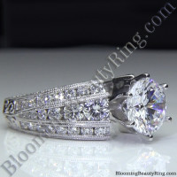 Artisan Etched Trinity Diamond Shank Engagement Ring 3