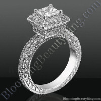 Crown Jewel Podium Halo Diamond Engagement Ring