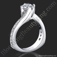 European Round Spiral Style Band With a Curved Twist Engagement Ring