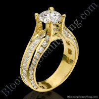 Fluid Round and Princess Channel Set Curved 4 Prong Diamond Engagement Ring