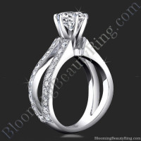 French Cut Designer Band Engagement Ring with Six Prongs Fluted Basket
