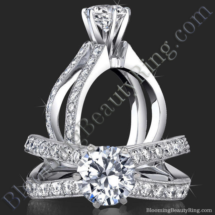 French Cut Designer Band Engagement Ring with Six Prongs Fluted Basket - bbr453