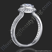 Halo Engagement Ring with Bezel Set Diamond Head and Pave Design