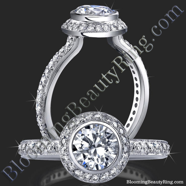 Halo Engagement Ring with Bezel Set Diamond Head and Pave Design - bbr760