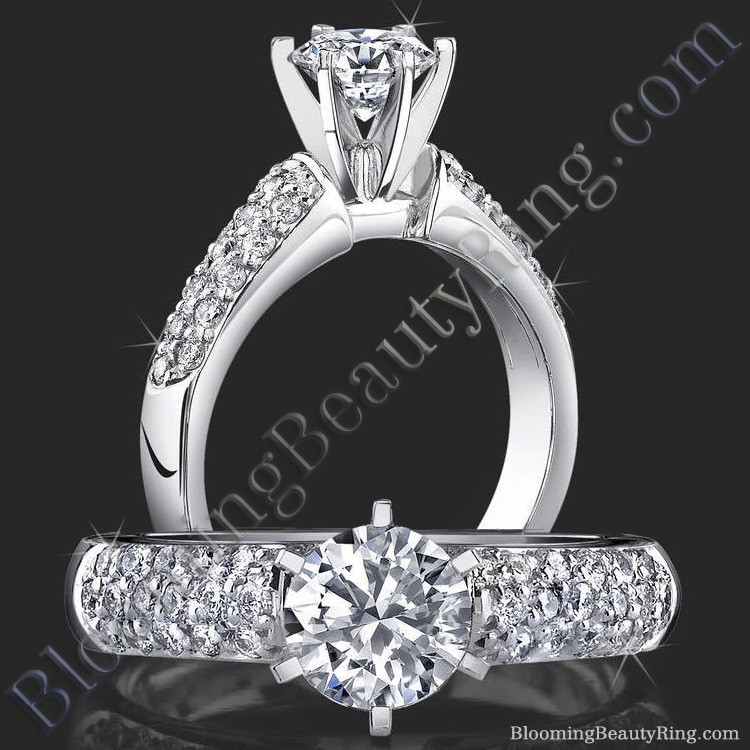 High Quality 6 Prong Modified Cathedral Engagement Setting - bbr189e