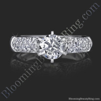 High Quality 6 Prong Modified Cathedral Engagement Setting Laying Down