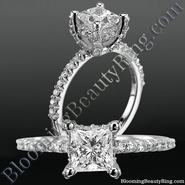 High Spirited Diamond Encrusted Unique Petite Engagement Ring - nw6004