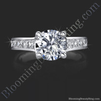 Invisible Channel Set Princess Ring Wide Band with Hidden Square Diamonds
