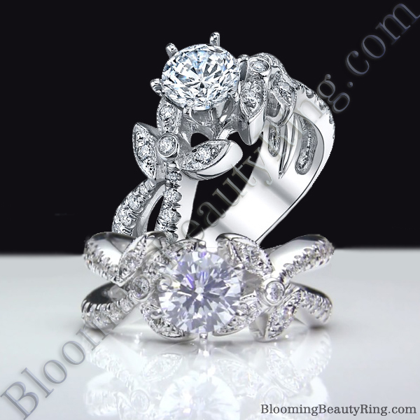 Lotus Leafy Split Shank Diamond Flower Engagement Ring - bbr548