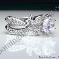 Lotus Split Shank Diamond Flower Engagement Ring